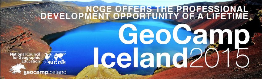 Picture of volcanic lake advertising National Council for Geographic Education's GeoCamp 2015 in Iceland