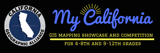 """Image including CGA logo and title of contest: """"My California GIS Mapping SHowcase and Competition for 4th-12th grades"""""""