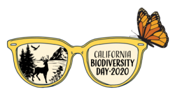 Logo for California Biodiversity Day 2020 features sunglasses with butterfly perched on frames