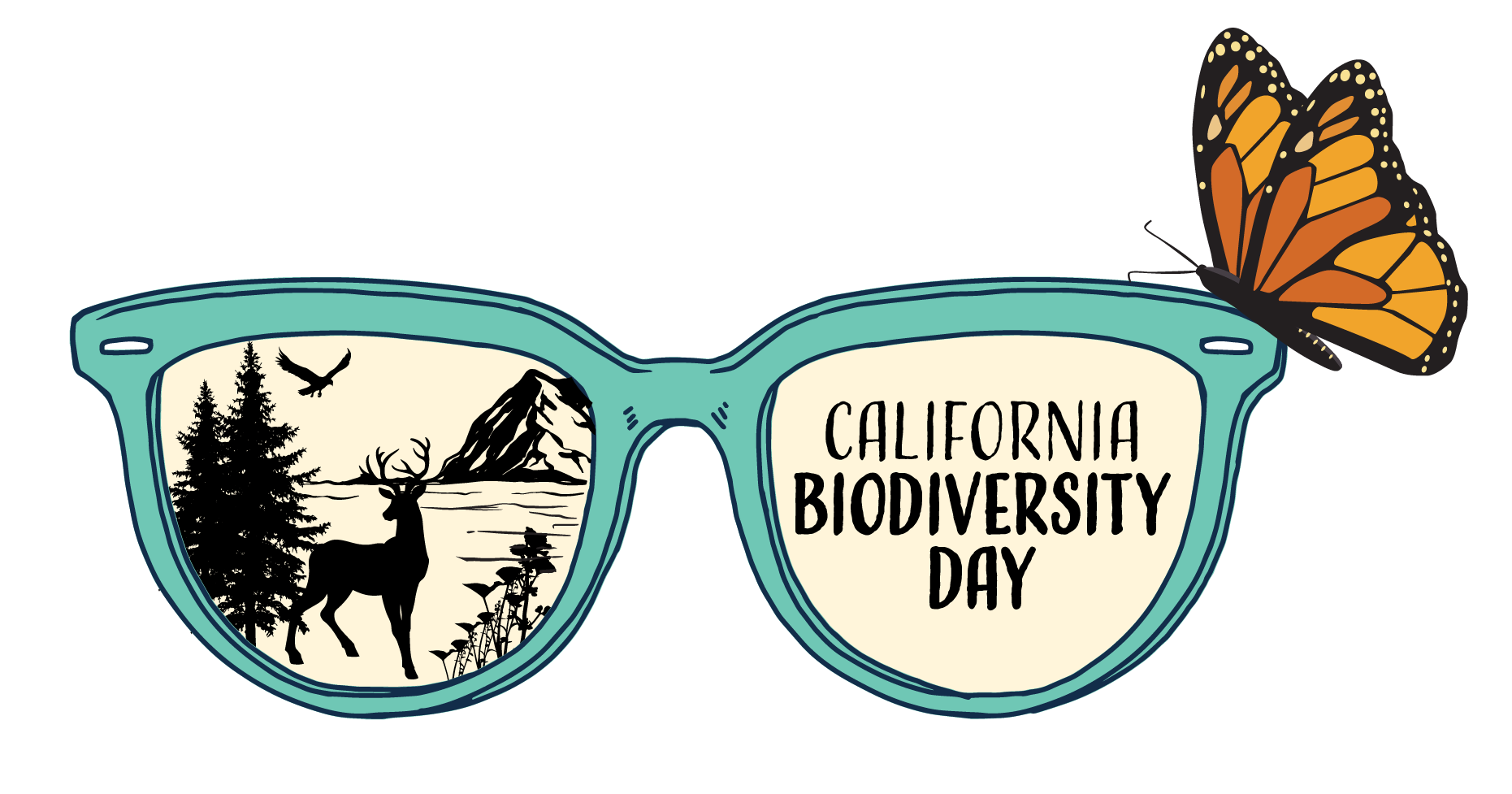 Logo for California Biodiversity Day features a monarch perched on the rim of a pair of glasses. A nature scene is reflected in one lens.