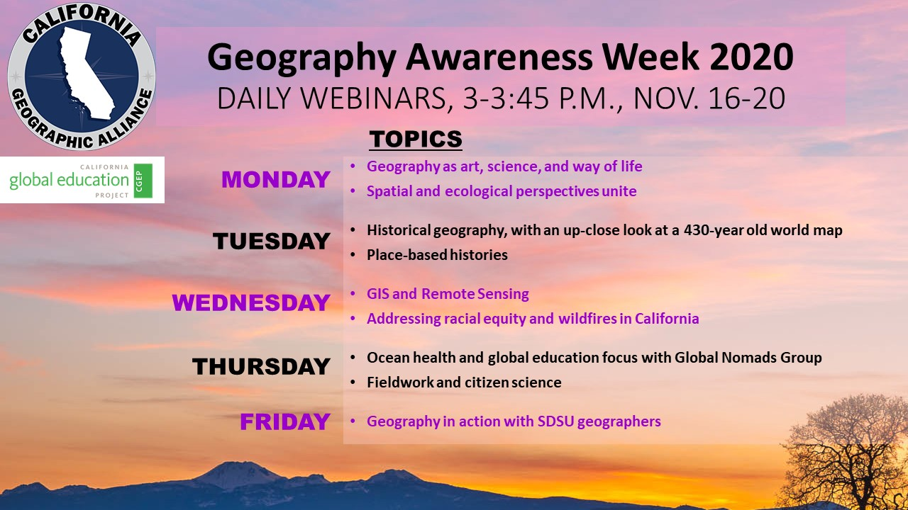 Image lists daily topics for webinars to be held Nov. 16-20, 2020.
