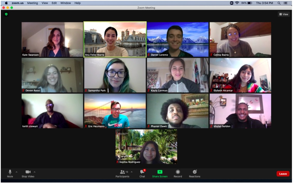 This image shows the professor and students in the Qualitative Methods in Geography course at SDSU while engaged in a Zoom call.