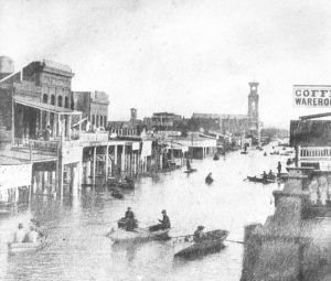A scene from January 10, 1862 shows flooded K St., looking east from 4th St.