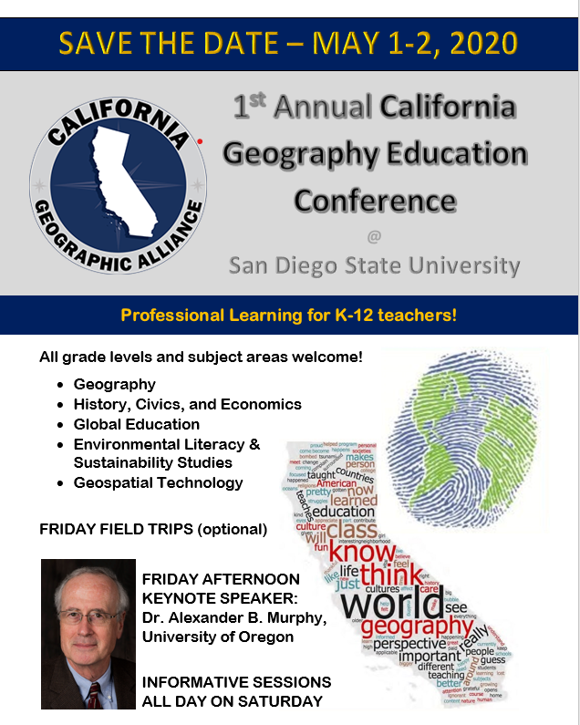 Graphic image promoting First California Geography Education Conference.